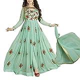 Khileshwai Fashion Women's Georgget Dress Material (Kf01_Kk51_Green_Free Size)