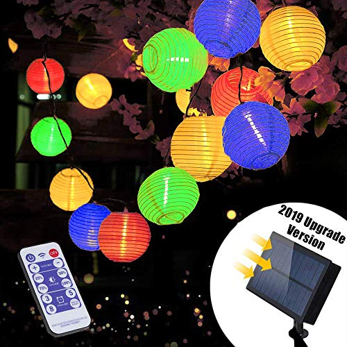 Solar Lichterkette Aussen mit Fernbedienung | Lunlight 6m 30 LED 5.5V Upgrade Version Farbig Lichterkette Lampions, LED Laterne String Lights für Party, Zuhause sowie Garten, Balkon, Terrasse,
