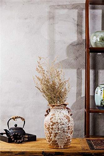 achte Steinzeug antike alte Keramik Jar White Splash Glasur Klassische Kunst Zylinder rustikale weiße Inneneinrichtung ()