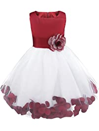 IEFIEL Vestido de Flores Blanco Niña Vestido Boda Fiesta Ceremonia Bautizo Elegante Vestido de Bautismo Disfraz