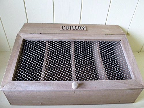 Shabby n Chic Rustic Style Natural Wood Cutlery Storage Box with Mesh Lid.Gift