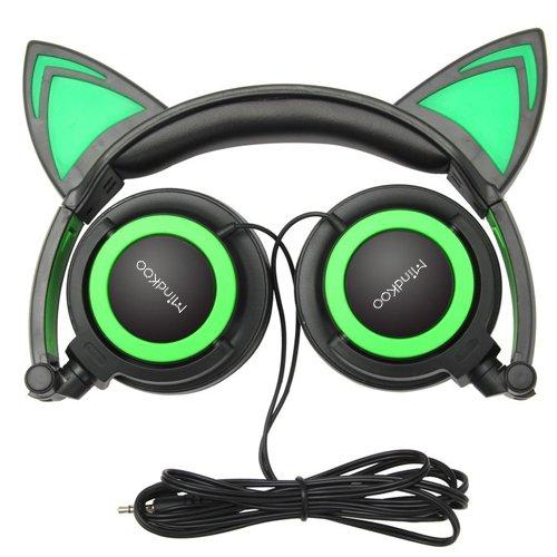 Mindkoo Casque Audio enfant Cat Ears Headphone Ecouteur oreille de chat avec Microphone intégré Casque filaire pour les smartphones, iPhone, Samsung, les Tablettes,MP3/MP4 et d'autres appareils avec prise jack 3.5mm Vert