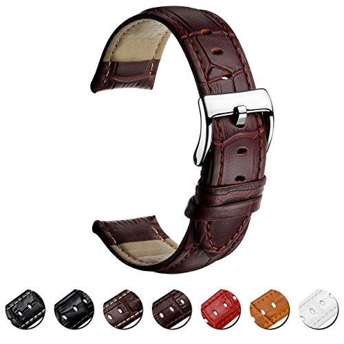 MEGALITH Uhrenarmband Echtes Leder Uhrband 16mm 18mm 20mm 22mm Watch Armband Premium Lederband für Herren Damen mit Edelstahl Metall Schließe (Herren Leder Breit Band Uhr)