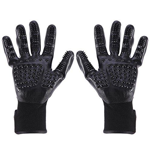 UEETEK Hundesalon-Handschuhe Haustier-Haar-Entferner-Handschuh verbesserte fünf Finger Deshedding Werkzeuge für Katzen und Hunde