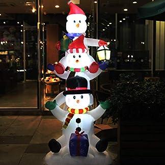 CCLIFE Muñeco hinflable de nieve LED, 120cm,180cm o 240 cm, exterior, iluminación navideña
