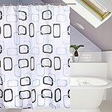 Duschvorhang aus Stoff wasserdichter waschbarer Textil Anti-Schimmel Digitaldruck inkl. 12 Duschvorhangringe für Badezimmer