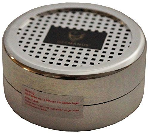 GERMANUS Humdior Befeuchter Silber für Zigarren, Tabak, Pfeifentabak und - Kristall Befeuchter