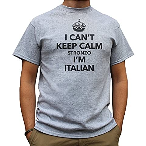 Nutees I Can't Keep Calm Stronzo I'm Italian, Italy Funny Mens T Shirt - Sport Gris X-Large