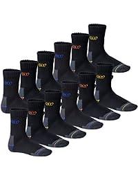 6 oder 12 Paar MT® Herren Arbeits- und Freizeitsocken mit Innenfrottee - Funktionssocken - venenfreundlich, atmungsaktiv, belastbar - Work Socken - Größe 39-50 - auch Übergröße