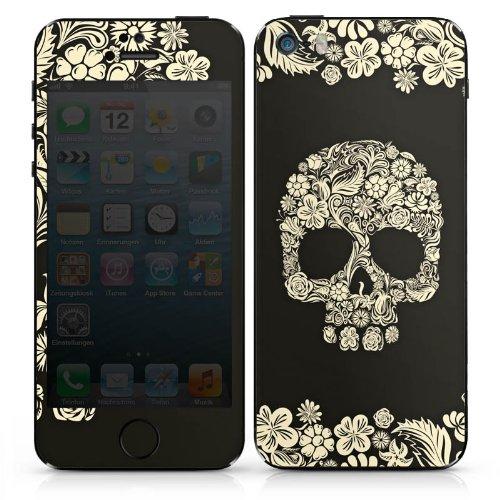Apple iPhone 5 Case Skin Sticker aus Vinyl-Folie Aufkleber Rosen Schädel Blumen DesignSkins® glänzend