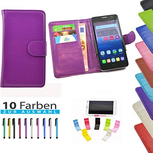 5 in 1 set ikracase Hülle Slide Handyhülle für Medion Life E5008 Smartphone Hülle Tasche Case Cover Schutzhülle Handytasche Etui in Violett