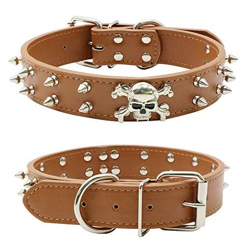 Tie Langxian Collar de Perro Perro, Collares Ajustables para Perros, Collar de Piel con Tachuelas para Mascotas (Negro,S)