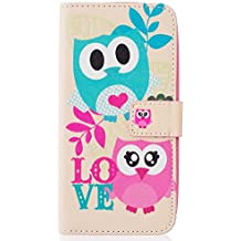 Qiaogle Teléfono Case - Funda de PU Cuero Billetera Clamshell Carcasa Cover para Asus ZenFone 2 Laser 5.0 ZE500KL (5.0 Pulgadas) - YH57 / Pink y azul Búho