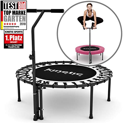Kinetic Sports Fitness Trampolin Indoor Ø 110 cm, RUND, höhenverstellbarer Haltegriff, Gummiseilfederung, PINK Randabdeckung, belastbar bis 120 kg