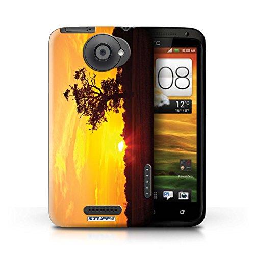 Kobalt® Imprimé Etui / Coque pour HTC One X / Chaîne de montagne conception / Série Coucher du Soleil Chêne d'orange