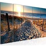 Bilder Strand Sonnenuntergang Wandbild 150 x 60 cm Vlies - Leinwand Bild XXL Format Wandbilder Wohnzimmer Wohnung Deko Kunstdrucke Blau 5 Teilig - MADE IN GERMANY - Fertig zum Aufhängen 018456a