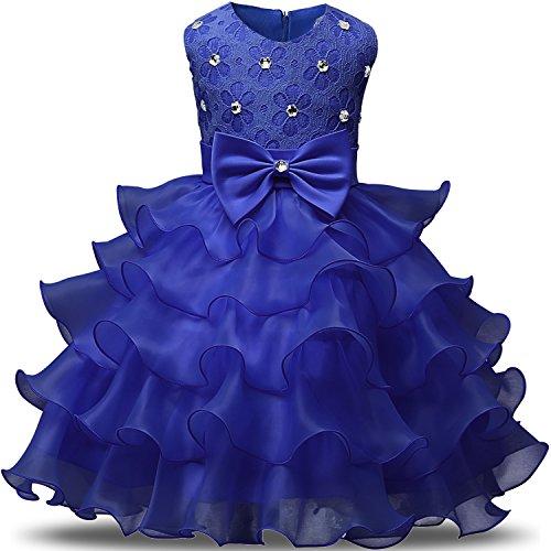 (NNJXD Mädchen Kleid Kinder Rüschen Spitze Party Brautkleider Größe(100) 2-3 Jahre Blau)