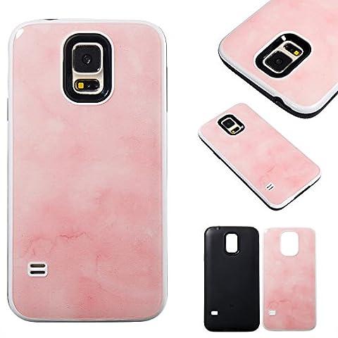 Coque Samsung Galaxy S5 SV I9600 G900 , Ecoway rose tendre Design TPU Enveloppe intérieure souple et PC couverture rigide 2-in1 protection le capot arrière Pour Samsung Galaxy S5 SV I9600 G900 - rose