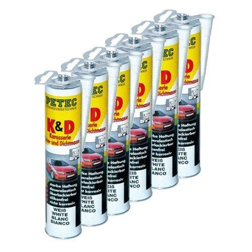 Preisvergleich Produktbild 6x PETEC K&D Karosserie Klebe- und Dichtmasse Klebemasse Dichtmasse Karosseriekleber Klebstoff Kleber Kartusche 310ml weiß