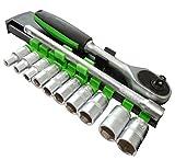 AERZETIX: Juego de llaves de vaso carraca compacto 1/4 extension 12cm 4/5/6/7/8/9/10/11/12/13mm...