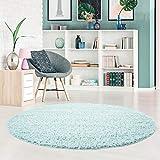 carpet city Shaggy Pastell Teppich Hochflor Langflor Einfarbig/Uni in Soft-Türkis, Hell-Blau aus Polypropylen für Wohn-Schlafzimmer, Größe: 200x200 rund