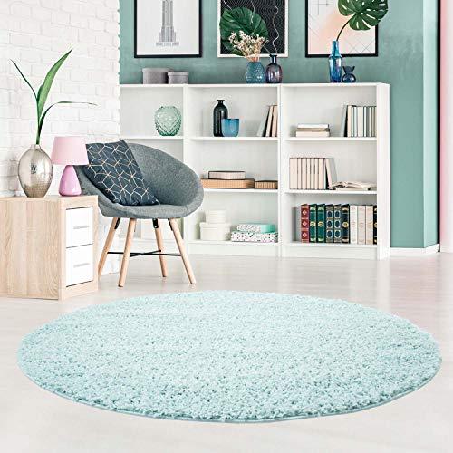 carpet city Shaggy Teppich Hochflor Langflor Pastell Einfarbig Modern in Türkis für Wohnzimmer; Größe: 120x120 cm Rund -