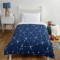 Dreamscene Galaxy Star Fleece Throw Warm Soft Solar Space Blanket Navy Silver Grey - 120 x 150cm