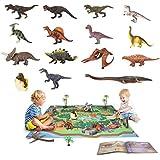 Triceratops p/ädagogisch realistisches Dinosaurier-Spielset zur Schaffung einer Dino-Welt mit T-Rex Velociraptor f/ür Kinder 3+ TEMI Dinosaurier Spielzeugfigur mit Aktivit/ät Spielmatte /& B/äume