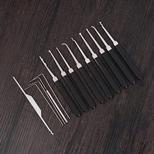 micg schwarz 14Praxis Lock Set Premium Edelstahl Tragbar Locksmith Picks entfernen Haken mit Fall -