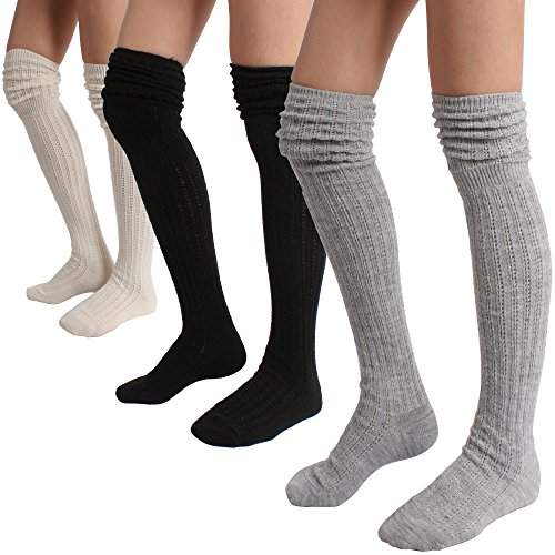 STYLEGAGA Women's Over The Knee High Knit Boot Socks One Size:Xs To M Slouch Top_3Pair