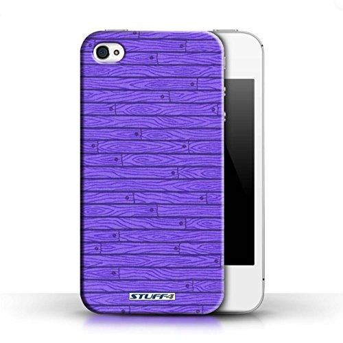 KOBALT® Hülle Case für Apple iPhone 4/4S | Rosa Entwurf | Holz-Muster Kollektion Lila