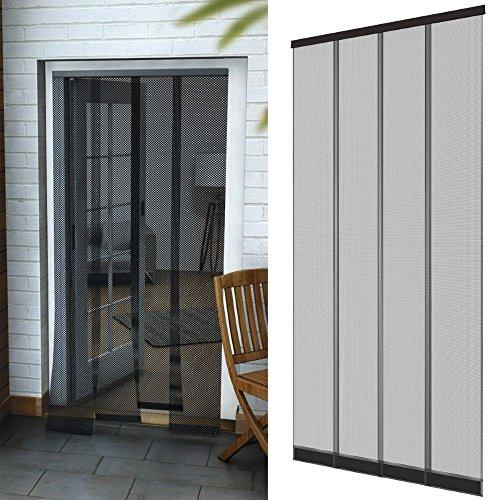 Pvc-tür-vorhang (Insektenschutz Tür Vorhang 95 x 220 cm in anthrazit Fliegenvorhang aus Polyester Lamellen mit eingenähten Gewichten und selbstklebender PVC Klemmleiste)