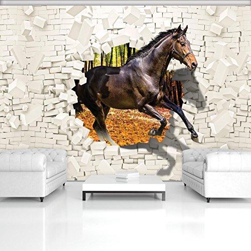 Format Tinte Gelb (FORWALL Fototapete Vlies - Tapete Moderne Wanddeko Pferd kommt aus der Wand 3D VEXXXL (416cm. x 254cm.) AMF3138VEXXXL Wandtapete Design Tapete Wohnzimmer Schlafzimmer)