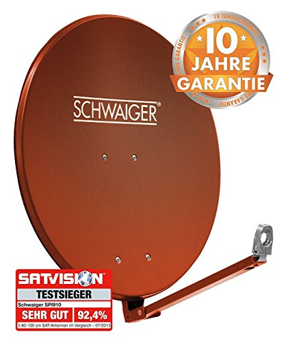 SCHWAIGER -265- Satellitenschüssel, Sat Antenne mit LNB Tragarm und Masthalterung, Sat-Schüssel aus Aluminium, Ziegelrot, 88 x 88 cm