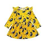 MEIbax Kleinkind Baby Mädchen Langarm Dinosaurier Druck Party Kleid Outfits Kleidung Infant Kinder Herbst Prinzessin Kleid