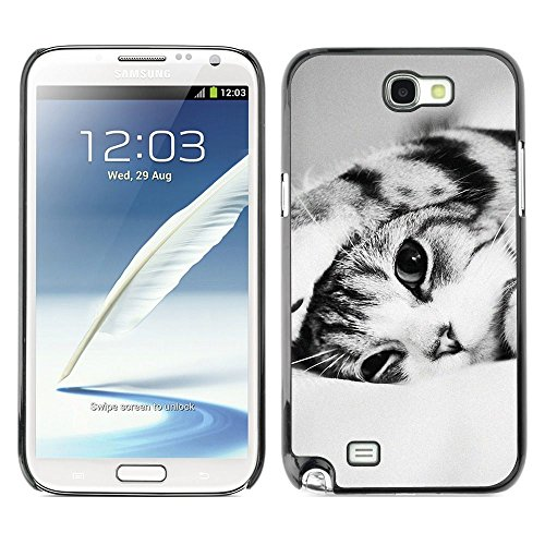 Plastic Shell Protective Case Cover    Samsung Galaxy Note 2 N7100    Black White Shorthair Cat @XPTECH (Samsung Galaxy Stellar Hard Case)