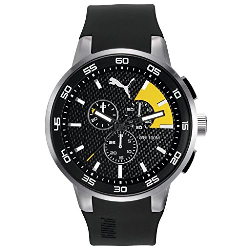 Hombre-reloj PUMA time 10416 - Silver Colour NEGRO Cronógrafo de cuarzo plástico amarillo PU104161003