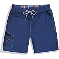 Westtreg Men Summer Clothing Shorts de Playa de Secado rápido Striped Swimwears Lovers Boardshorts Couples Surf Board Shorts, Azul Marino, XXL