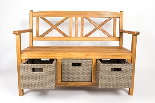 SAM® Gartenbank Flora aus Akazie, inklusive 3 x Polyrattan-Korb, Garten-Möbel aus Holz, geölt & natur, 121 x 60 cm, FSC® 100% zertifiziert, massive Holzbank, pflegeleichtes Unikat - 2