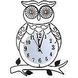 TAI3 Moderno Reloj De Pared Grande Metal Búho Hogar Decoración Relojes de Pared