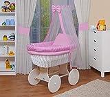 WALDIN Landau/berceau bébé complet,18 modèles disponibles,Cadre/Roues blanc laqué,couleur du tissu rose/carreaux