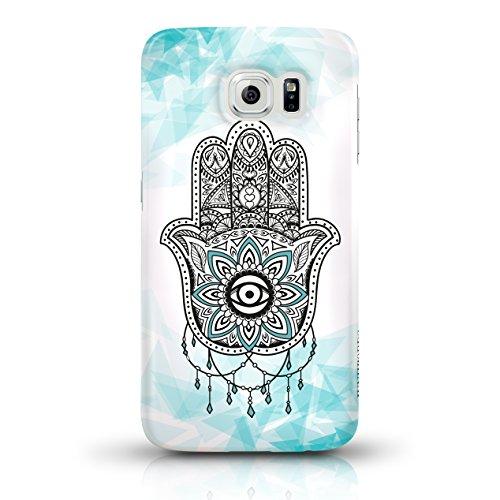 """JUNIWORDS Handyhüllen Slim Case für Samsung Galaxy S6 - Motiv """"Bunter Elefant schwarz"""" Schutzhülle für Ihr Smartphone Hand of Fatima türkis 2"""