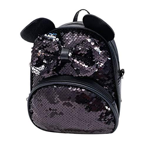 Mitlfuny handbemalte Ledertasche, Schultertasche, Geschenk, Handgefertigte Tasche,Studenten-Mädchen-Karikatur-Pailletten-Bogen-Crossbody-Taschen-Schultaschen-Reise-Schulrucksack -