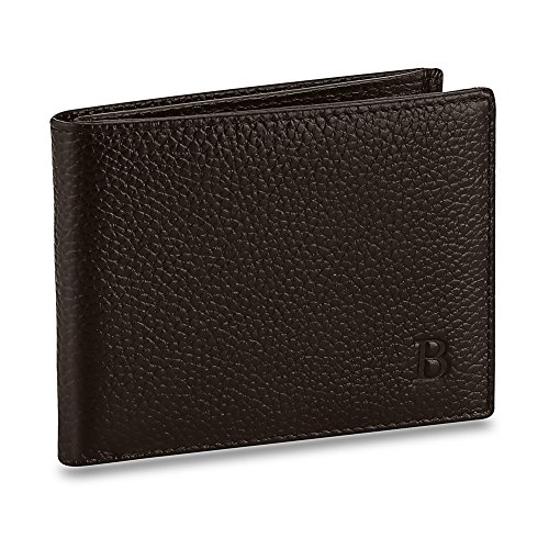 Expresstech @ Ledergeldbörse Portmonee Wallet Portemonnaie Leder Geldbeutel Brieftasche für Herren Damen Kreditkarte Personalausweis EC-Karte Reisepass Bankkarte Ausweis - Braun (Leder Tri-fold Embossed)