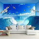 Guyuell Personalisierte Custom Sea Wave Delphin Natur Wandbild Tapete Hotel Wohnzimmer Moderne Einfache Innendekor Tapete Papel Wandbild-120Cmx100Cm