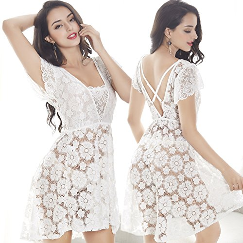 Wangs Women's Sexy Nightwear,Sexy Lingerie,Ice Silk Transparent Lace Sleep Skirt