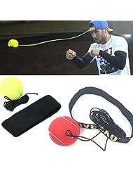 Igemy Fight Boule avec bandeau pour reflex Vitesse de boxe d'entraînement de boxe Punch d'exercice Red