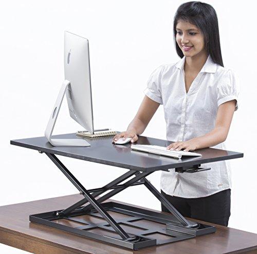 Tisch Jack Stehpult Konverter–81,3x 55,9cm Extra große Ergonomische Höhe verstellbar Sit Stand Up Schreibtisch Konverter, dass kann als ein Schreibtisch Riser Anpassungsfähig für einen Dual Monitor Setup