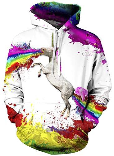 AIDEAONE Boys Girls Hoodie Cool White Hourse Long Sleeve Colourful Sweatshirt Classic -