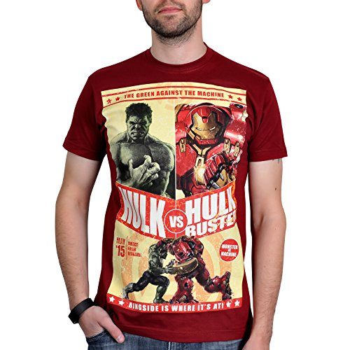 Avengers Age of Ultron T-Shirt Hulk vs. Hulkbuster Bruce Banner gegen Iron Man Marvel Superhelden T-Shirt in Feuerrot - XL (Bekleidung Banner)